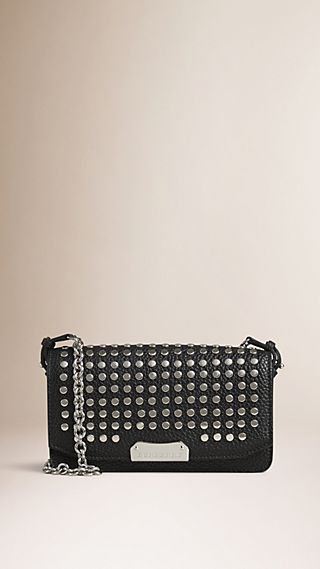 Studded Leather Clutch Bag with Chain