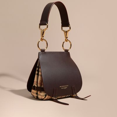 5ad08a2cb675 Burberry The Bridle Bag In Leather And Haymarket Check In Dark Clove Brown