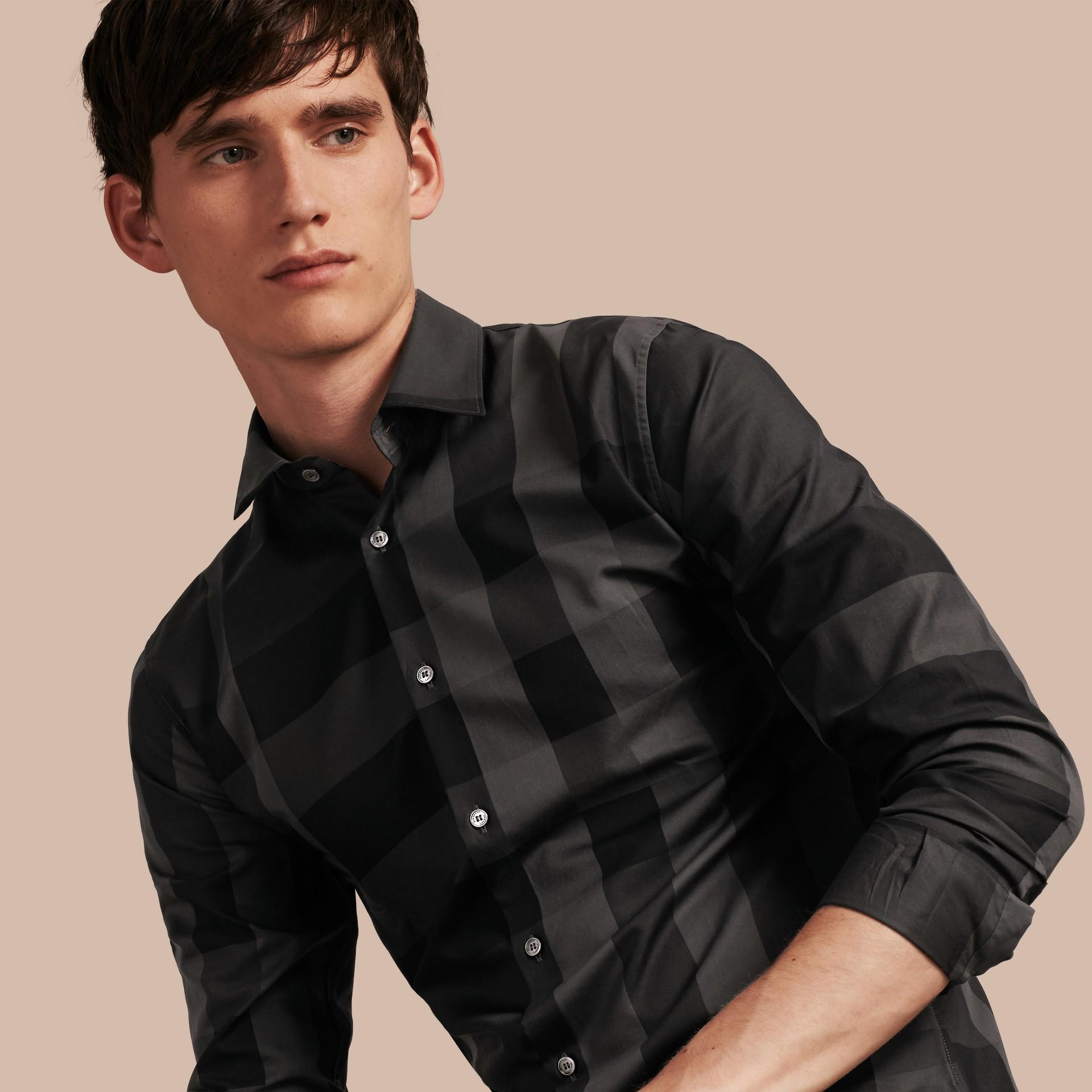 Gris marengo Camisa en algodón con estampado de checks Gris Marengo - imagen de la galería 1
