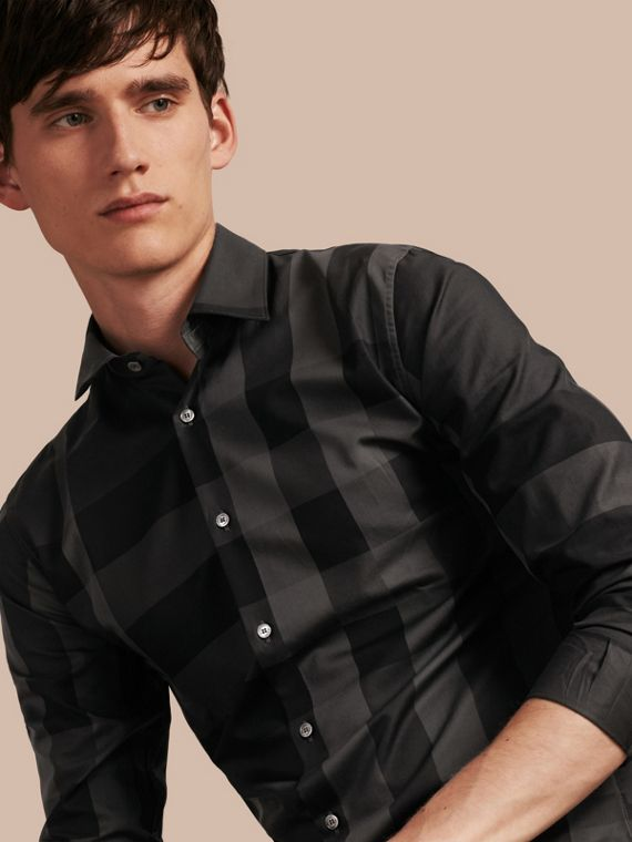 Check Cotton Shirt Charcoal
