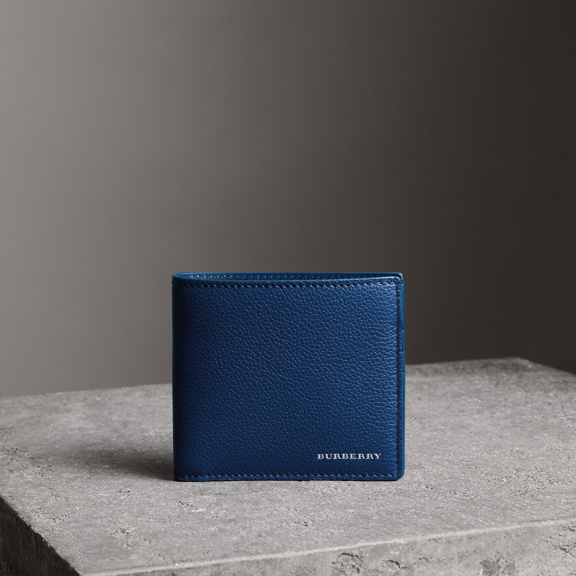 Grainy Leather International Bifold Wallet in Bright Ultramarine - Men | Burberry Singapore - gallery image 0