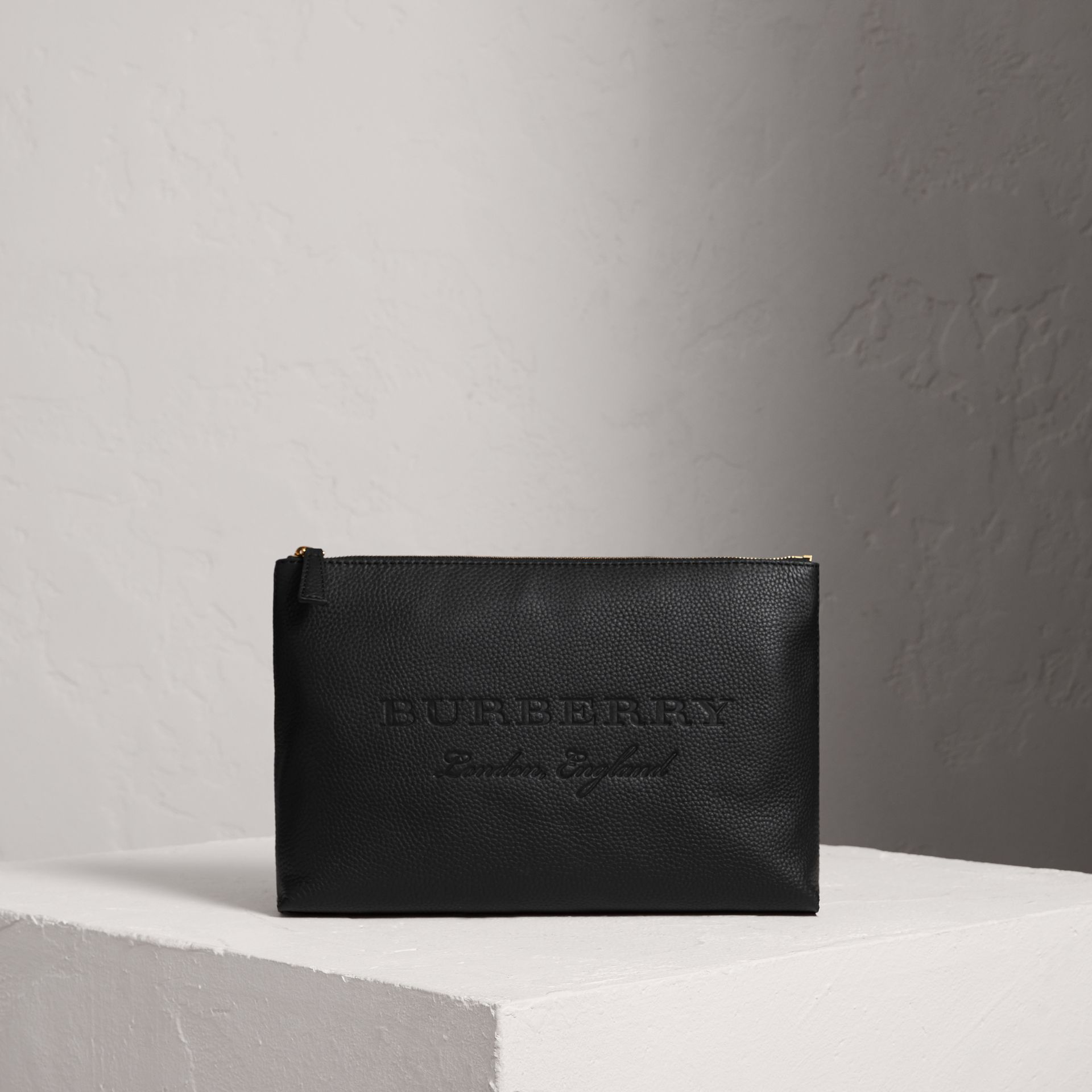 Large Embossed Leather Zip Pouch in Black | Burberry Singapore - gallery image 0