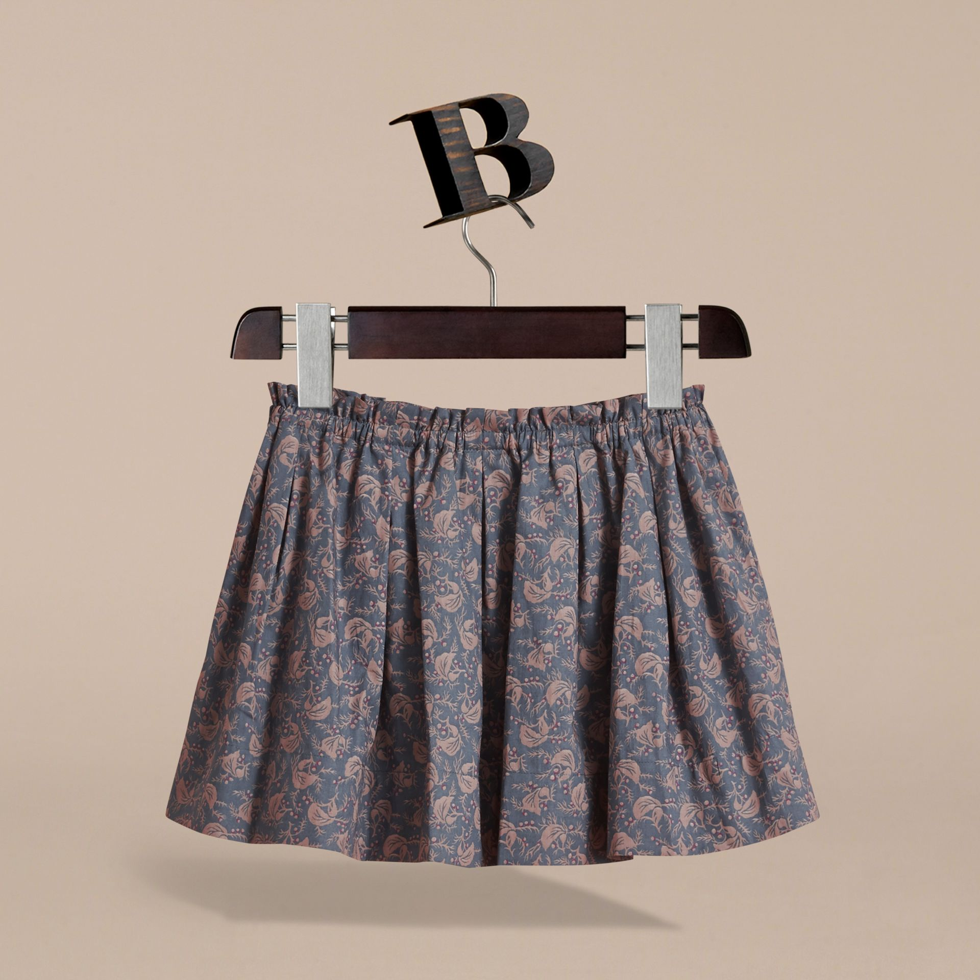 Leaf Pattern Cotton Skirt in Steel Blue | Burberry - gallery image 4
