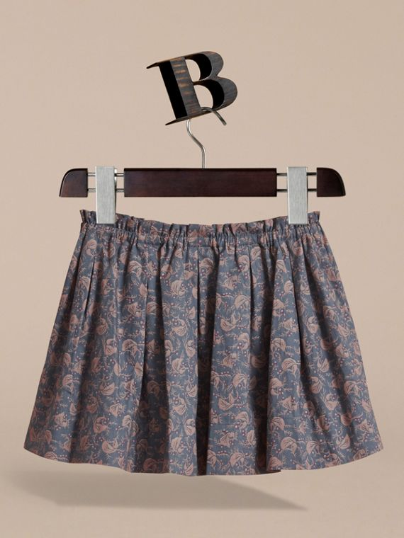 Leaf Pattern Cotton Skirt in Steel Blue | Burberry - cell image 3