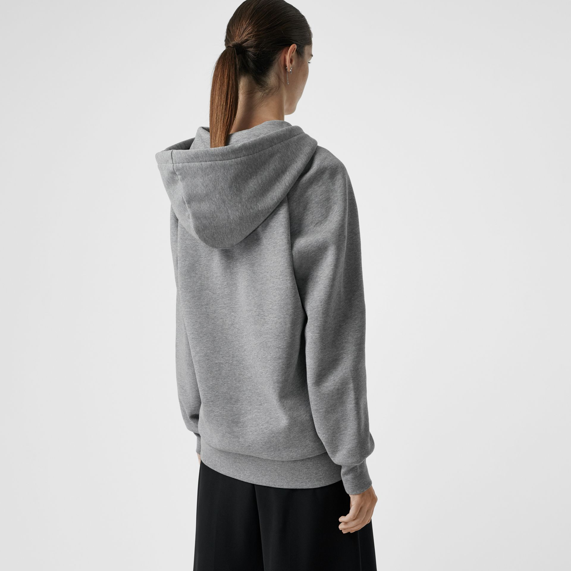 Embroidered Hooded Sweatshirt in Pale Grey Melange - Women | Burberry Hong Kong - gallery image 2