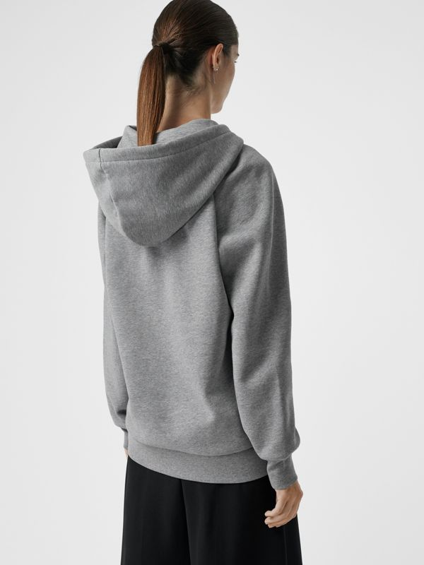 Embroidered Hooded Sweatshirt in Pale Grey Melange - Women | Burberry Hong Kong - cell image 2