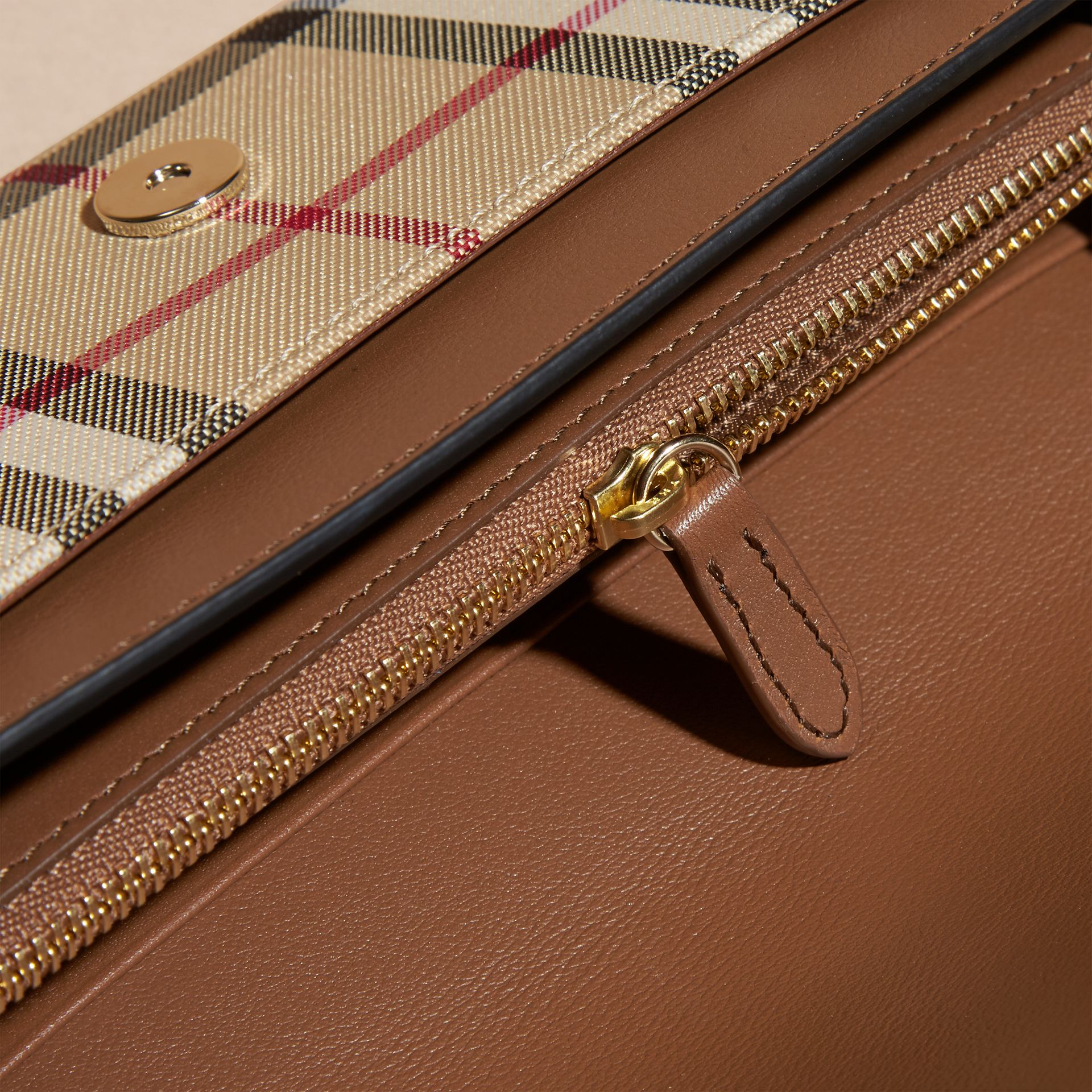 Horseferry Check and Leather Wallet with Chain in Tan - Women | Burberry - gallery image 5