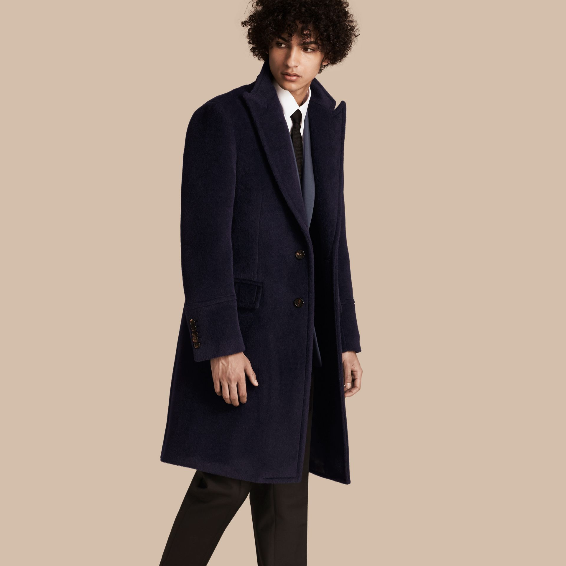 Navy black Alpaca Wool Overcoat - gallery image 1