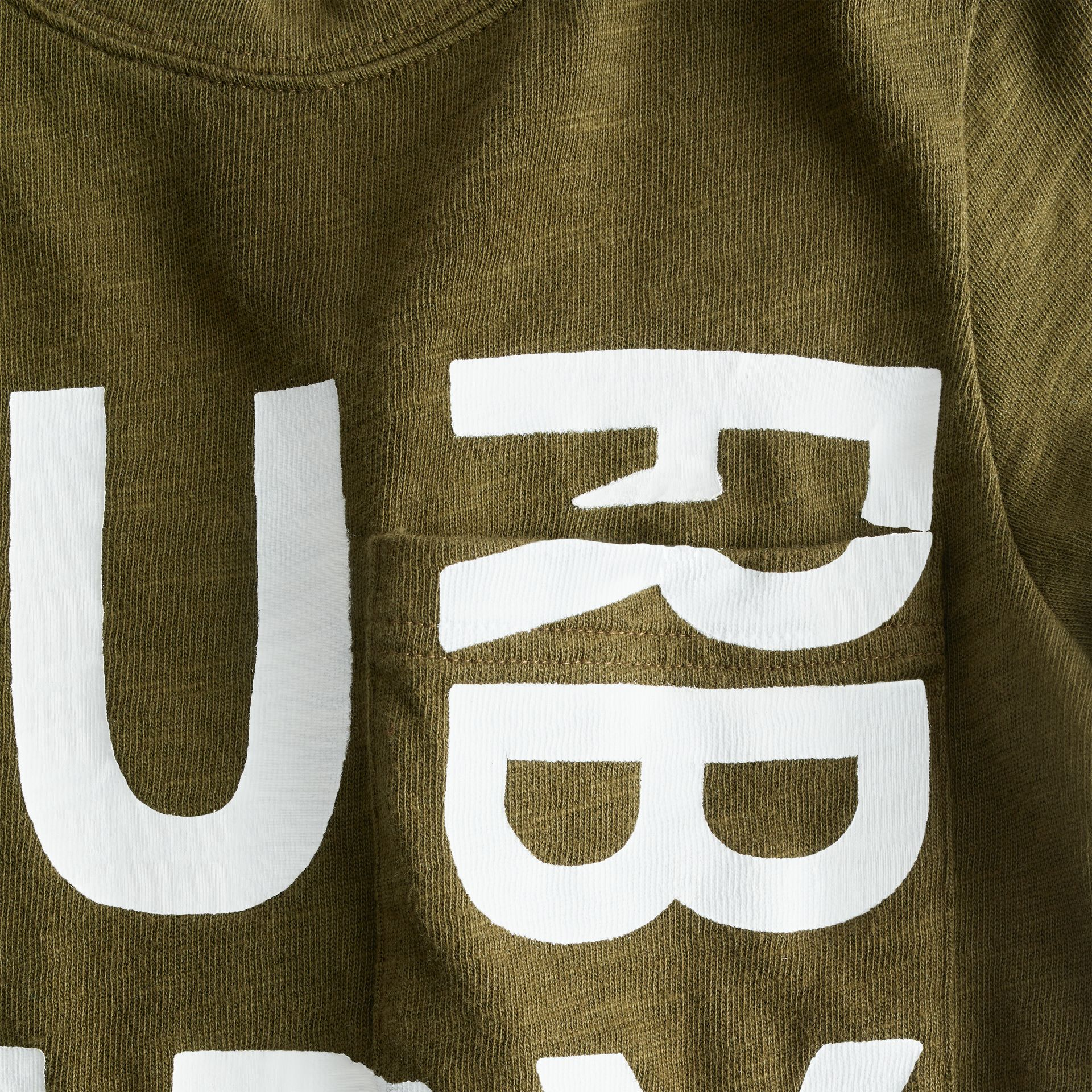 Logo Print Cotton T-shirt in Khaki | Burberry - gallery image 1