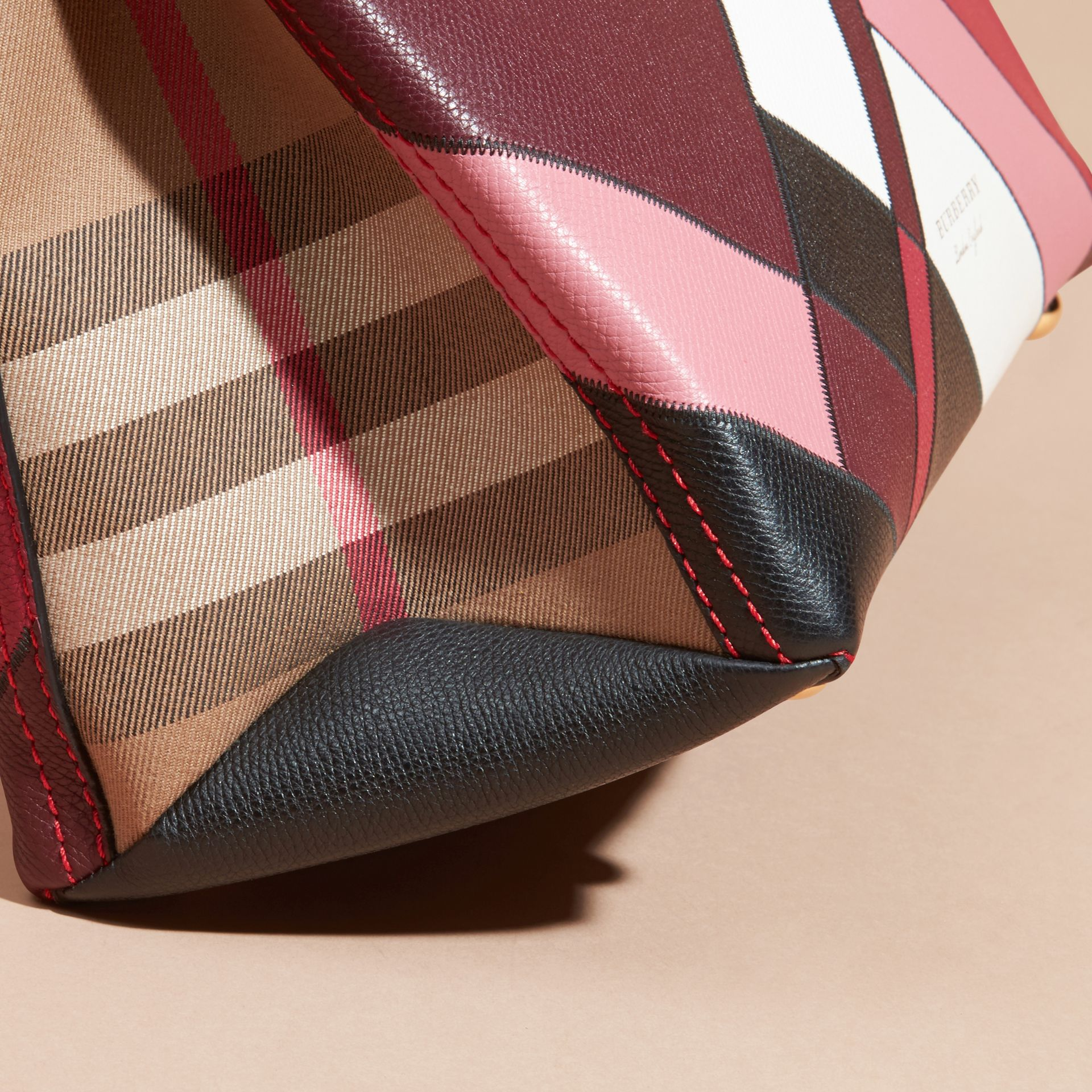 The Medium Banner in Colour Block Leather in Pink - Women | Burberry Canada - gallery image 1
