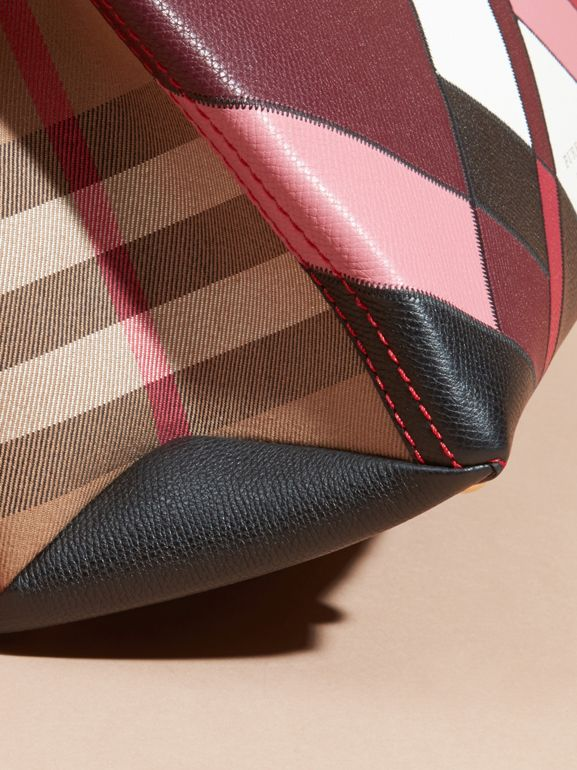 The Medium Banner in Colour Block Leather in Pink - Women | Burberry United Kingdom - cell image 1