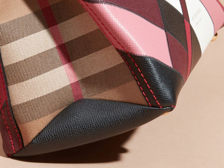 The Medium Banner in Colour Block Leather in Pink - Women | Burberry Canada - cell image 1