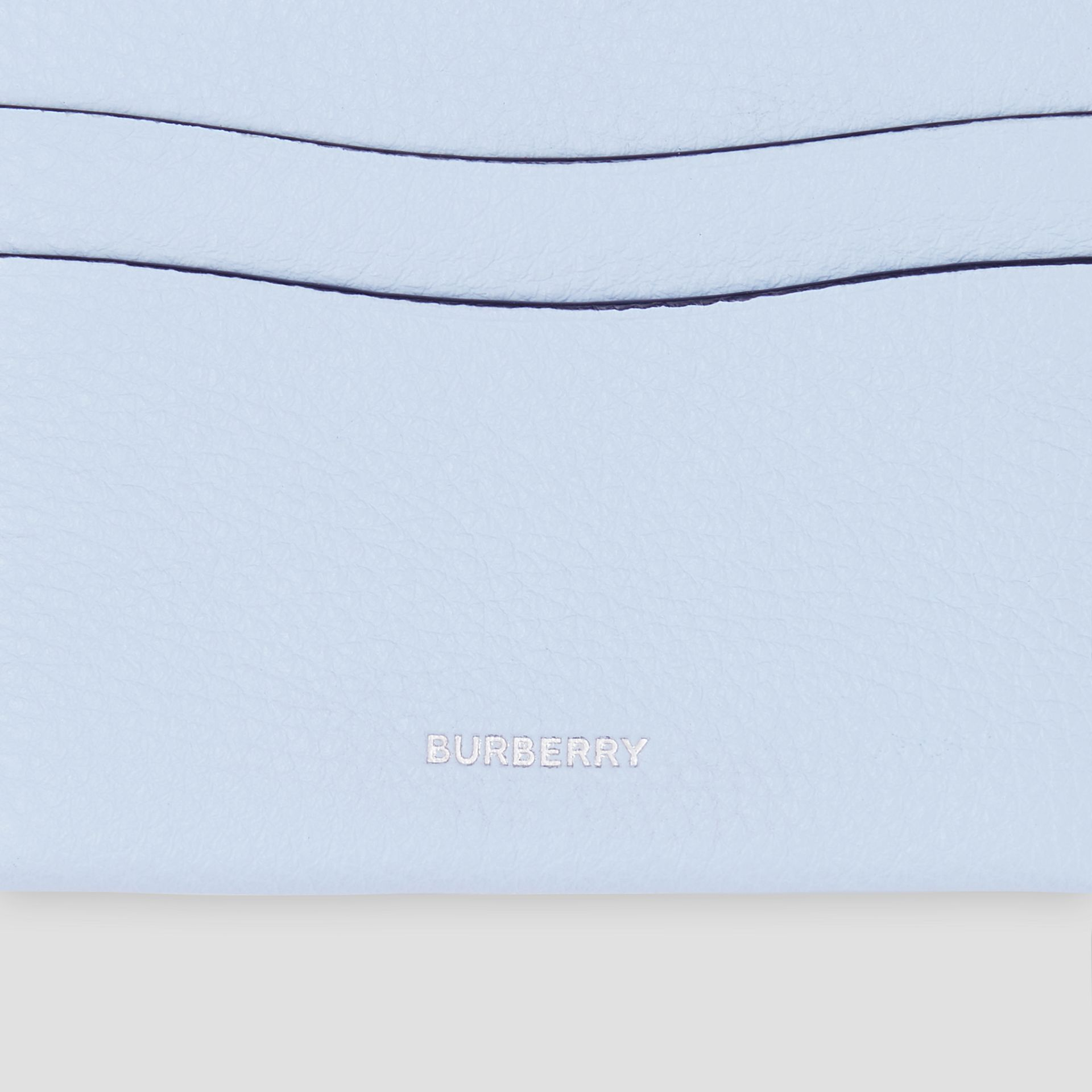 Grainy Leather Card Case in Pale Blue - Women | Burberry - gallery image 1