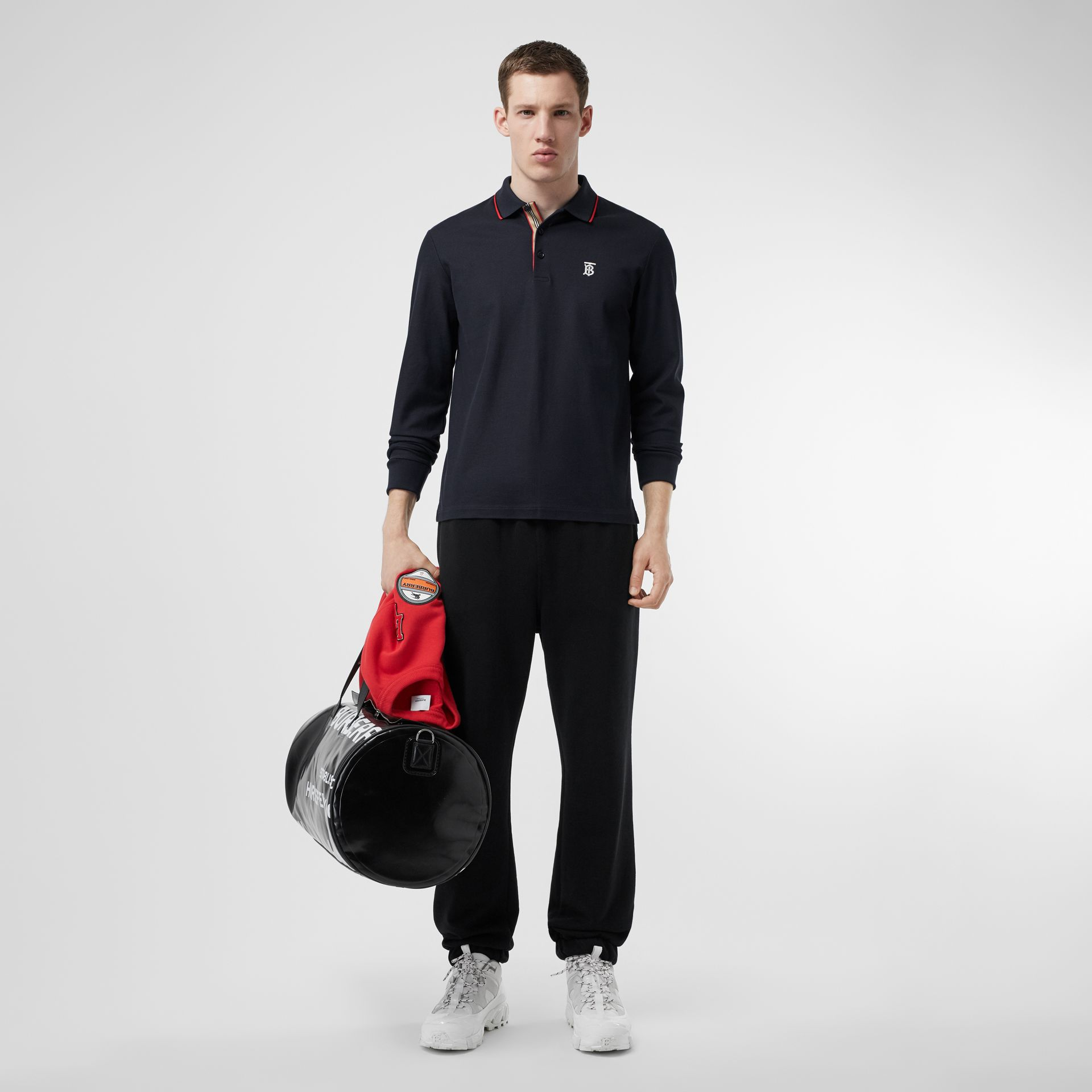 Long-sleeve Monogram Motif Cotton Piqué Polo Shirt in Navy - Men | Burberry Hong Kong S.A.R - gallery image 0