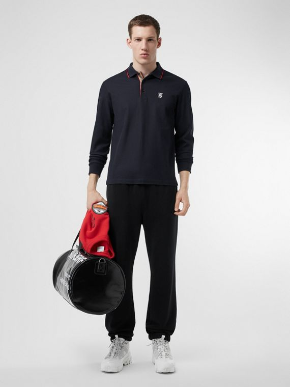 Long-sleeve Monogram Motif Cotton Piqué Polo Shirt in Navy