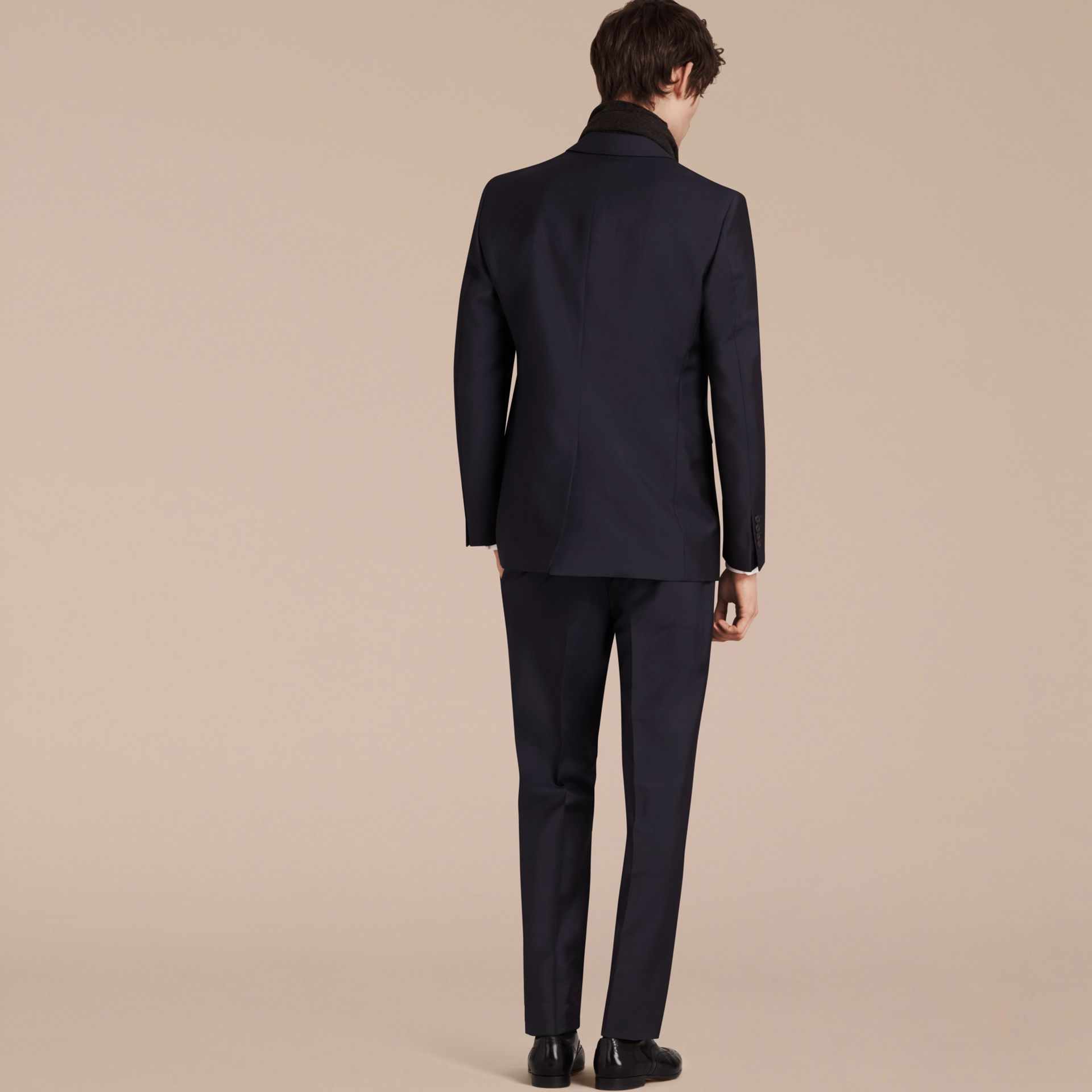 Modern Fit Wool Mohair Part-canvas Suit True Navy - gallery image 3