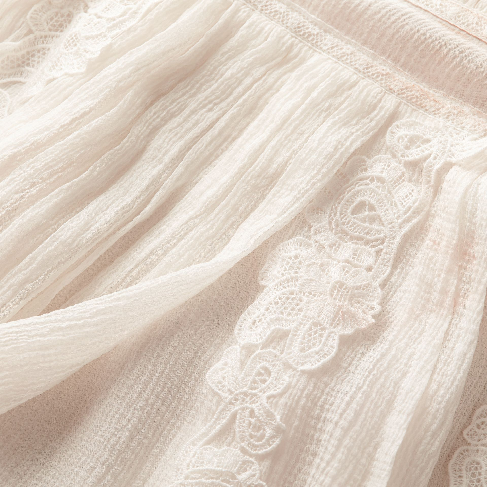 Lace Detail Silk Crepon Floor-length Dress in White - Women | Burberry - gallery image 2