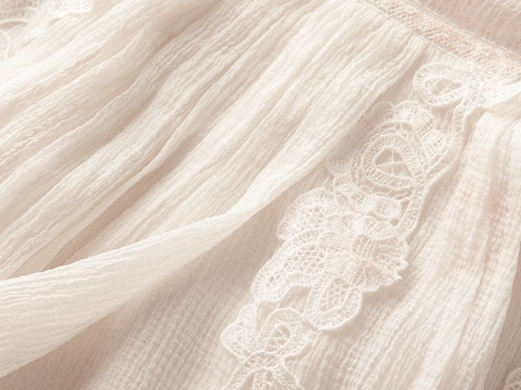 Lace Detail Silk Crepon Floor-length Dress - Women | Burberry - cell image 1