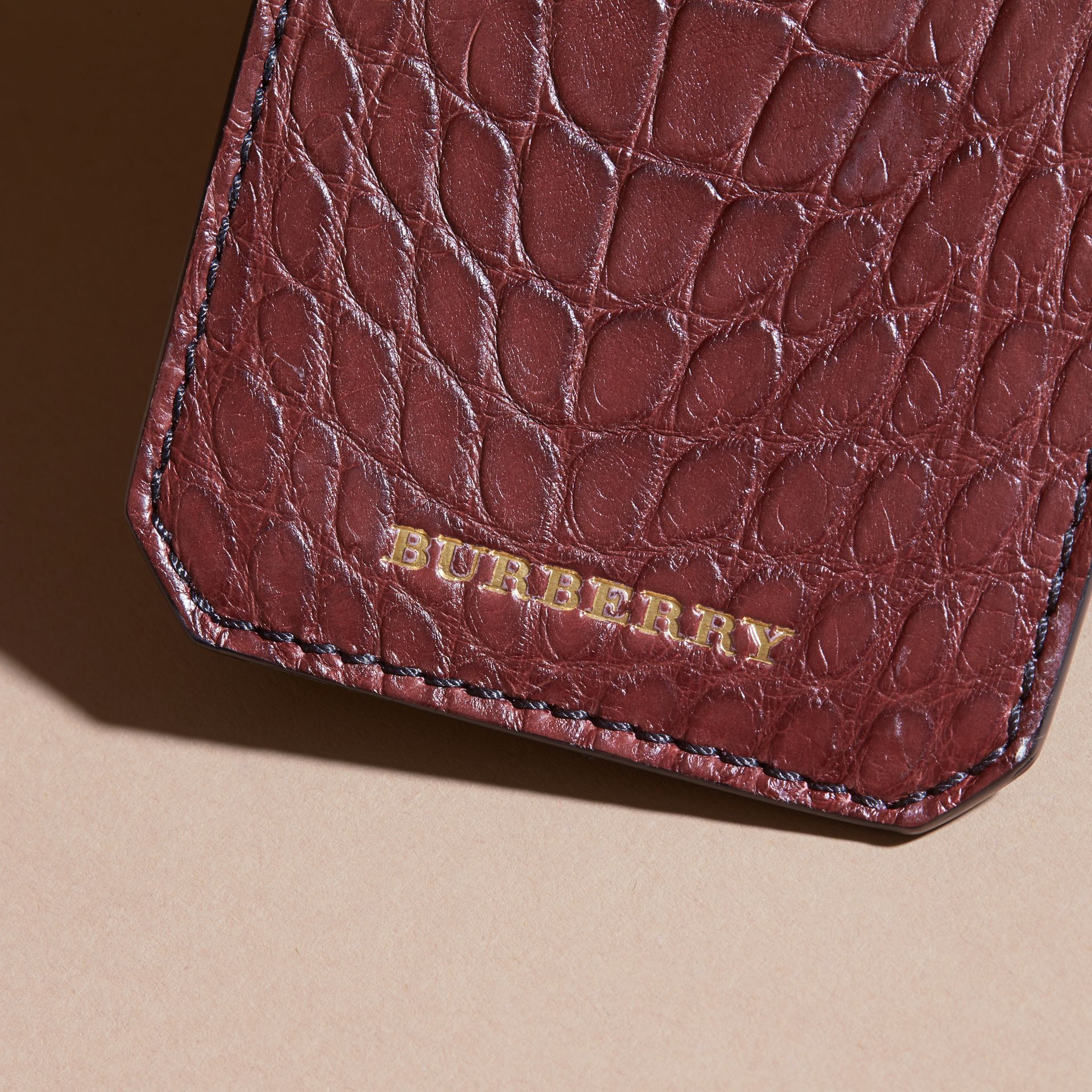 Alligator Luggage Tag in Deep Claret | Burberry - gallery image 2