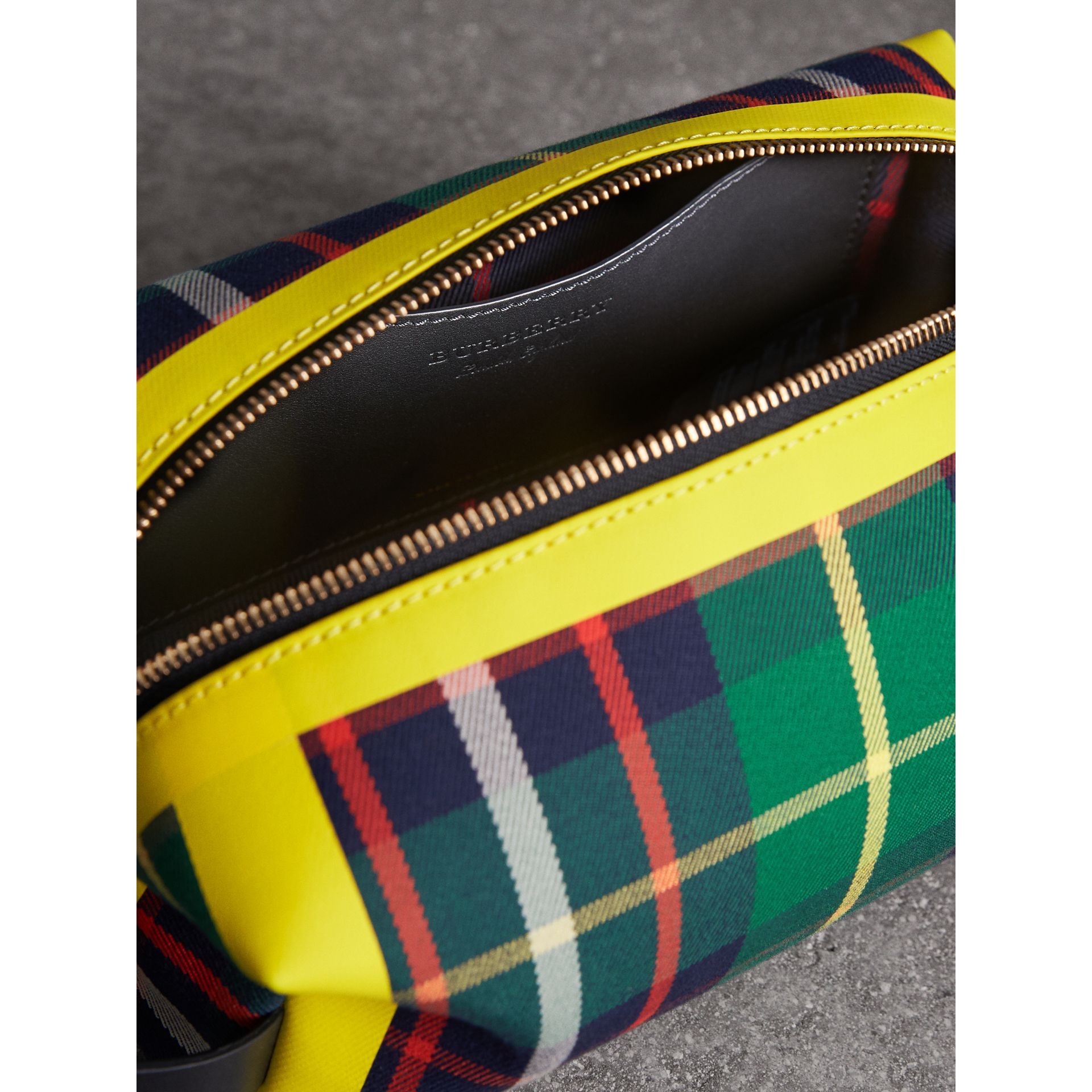 Tartan Cotton Pouch in Forest Green | Burberry Singapore - gallery image 5