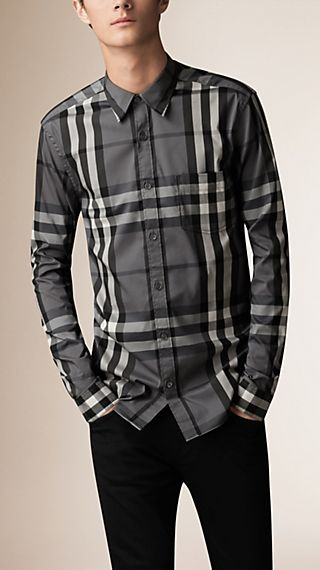 Check Stretch Cotton-Blend Shirt