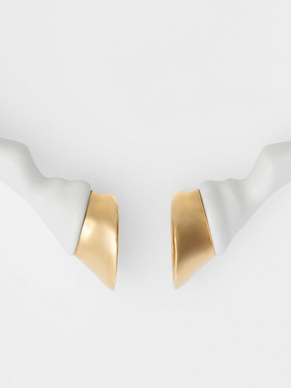 Resin and Gold-plated Hoof Cuff in White/light - Women | Burberry Australia - cell image 1