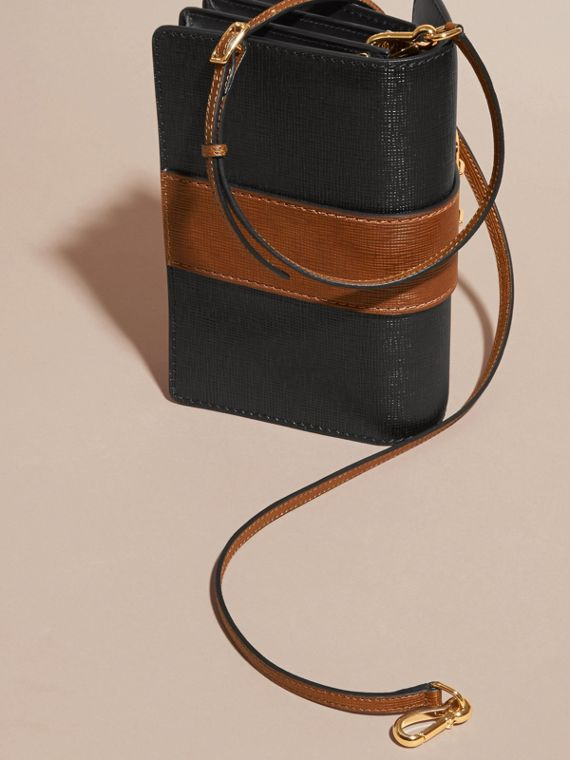 Black/tan The Medium Buckle Bag in Textured Leather Black/tan - cell image 2