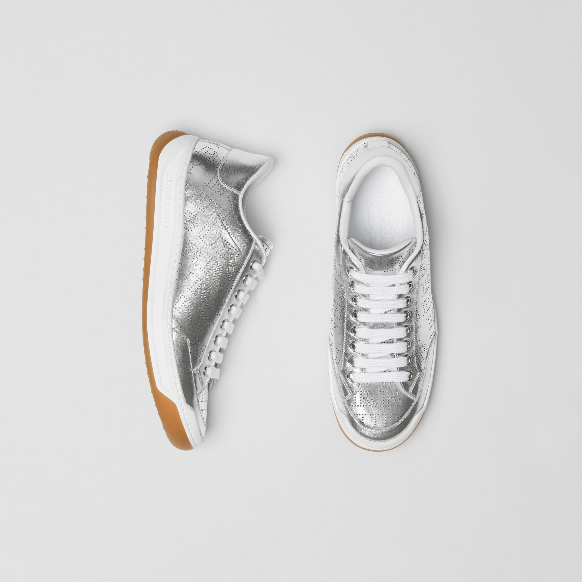 Perforated Logo Metallic Leather Sneakers in Silver Grey - Women | Burberry Australia - gallery image 0