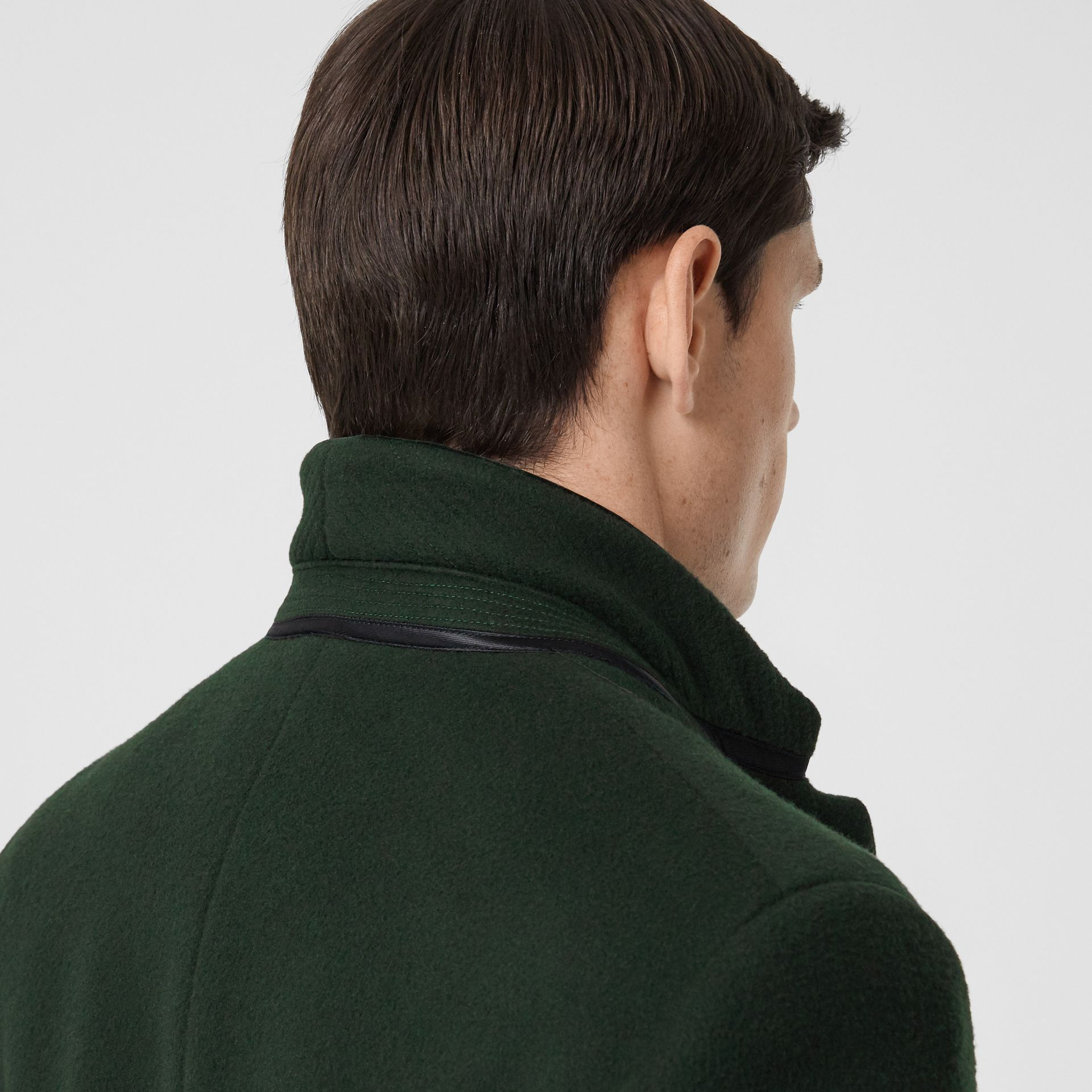 Velvet Trim Wool Cashmere Tailored Coat in Dark Pine Green - Men | Burberry - gallery image 4