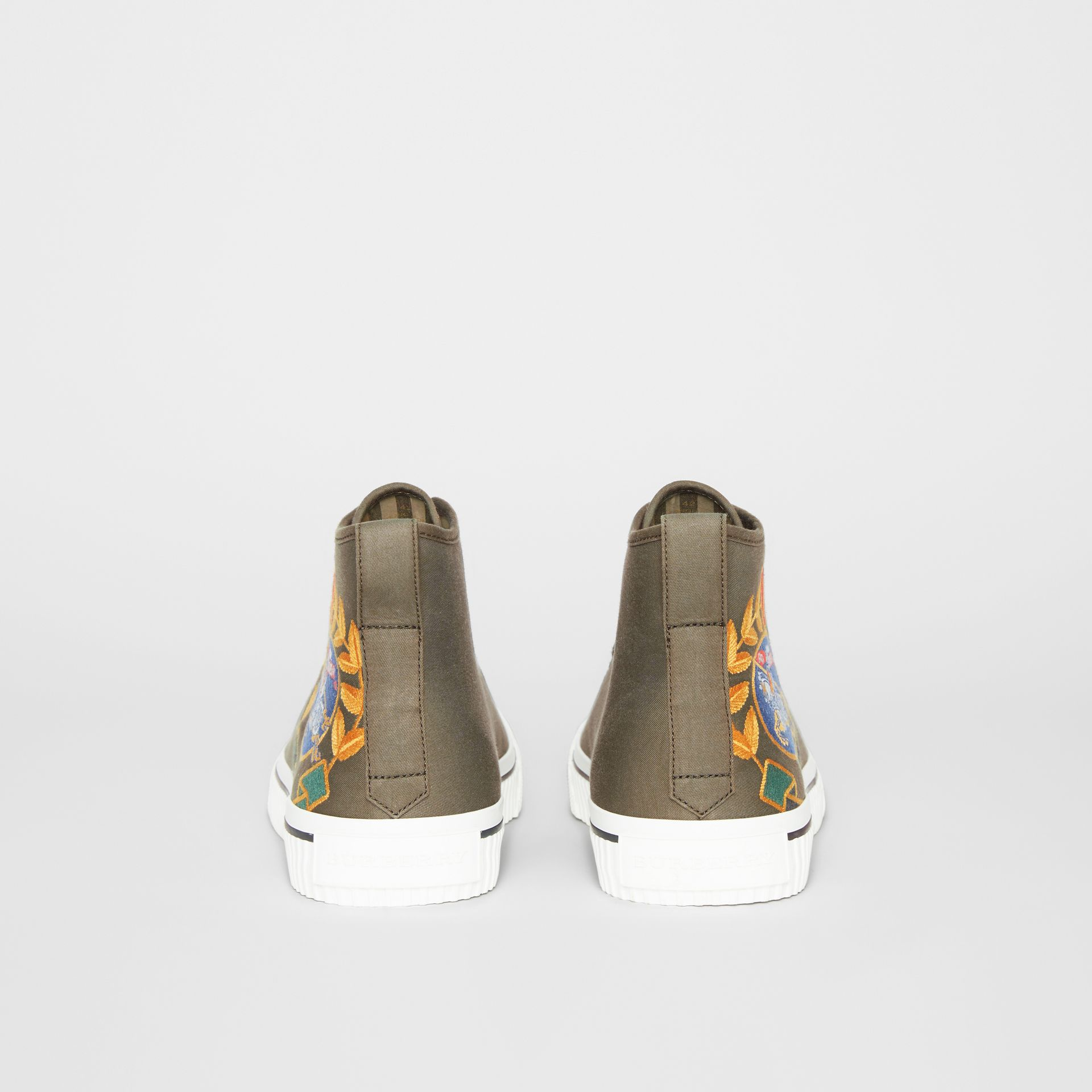 Archive Logo Cotton Gabardine High-top Sneakers in Oregano - Men | Burberry - gallery image 4