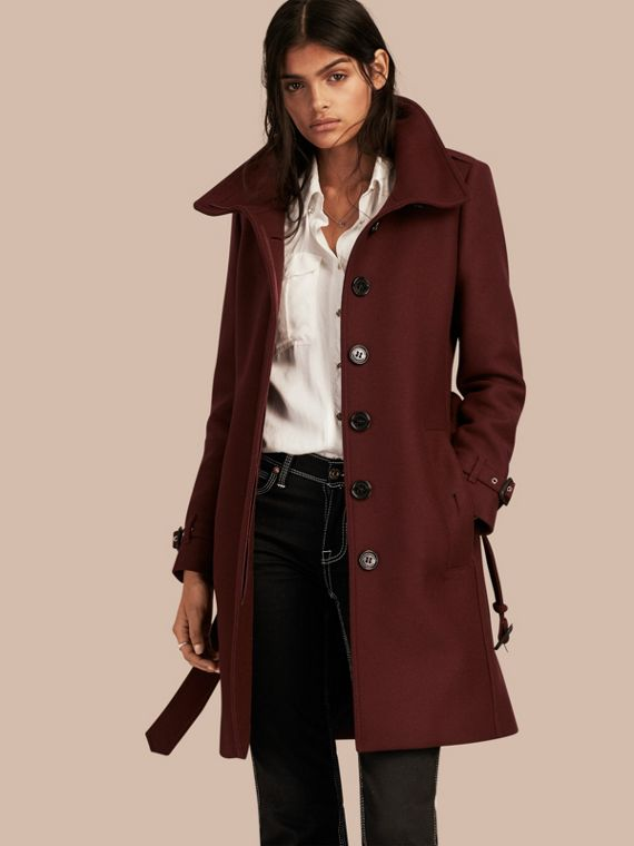 Technical Wool Cashmere Funnel Neck Coat Garnet