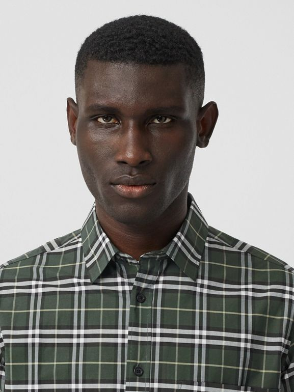 Small Scale Check Stretch Cotton Shirt in Seaweed - Men | Burberry - cell image 1