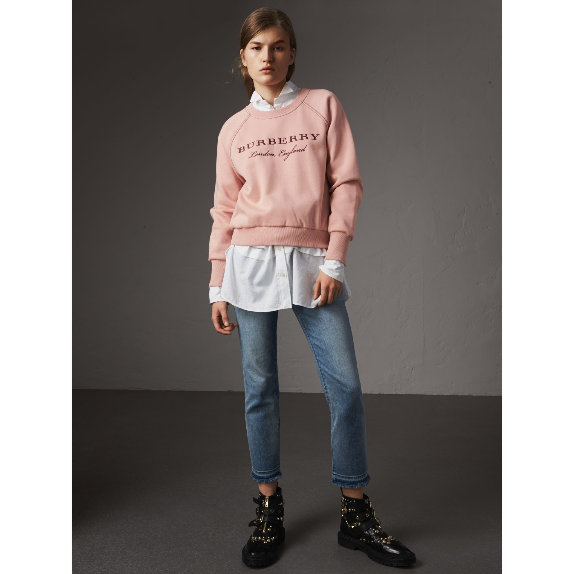 Embroidered Cotton Blend Jersey Sweatshirt in Ash Rose - Women | Burberry - gallery image 5