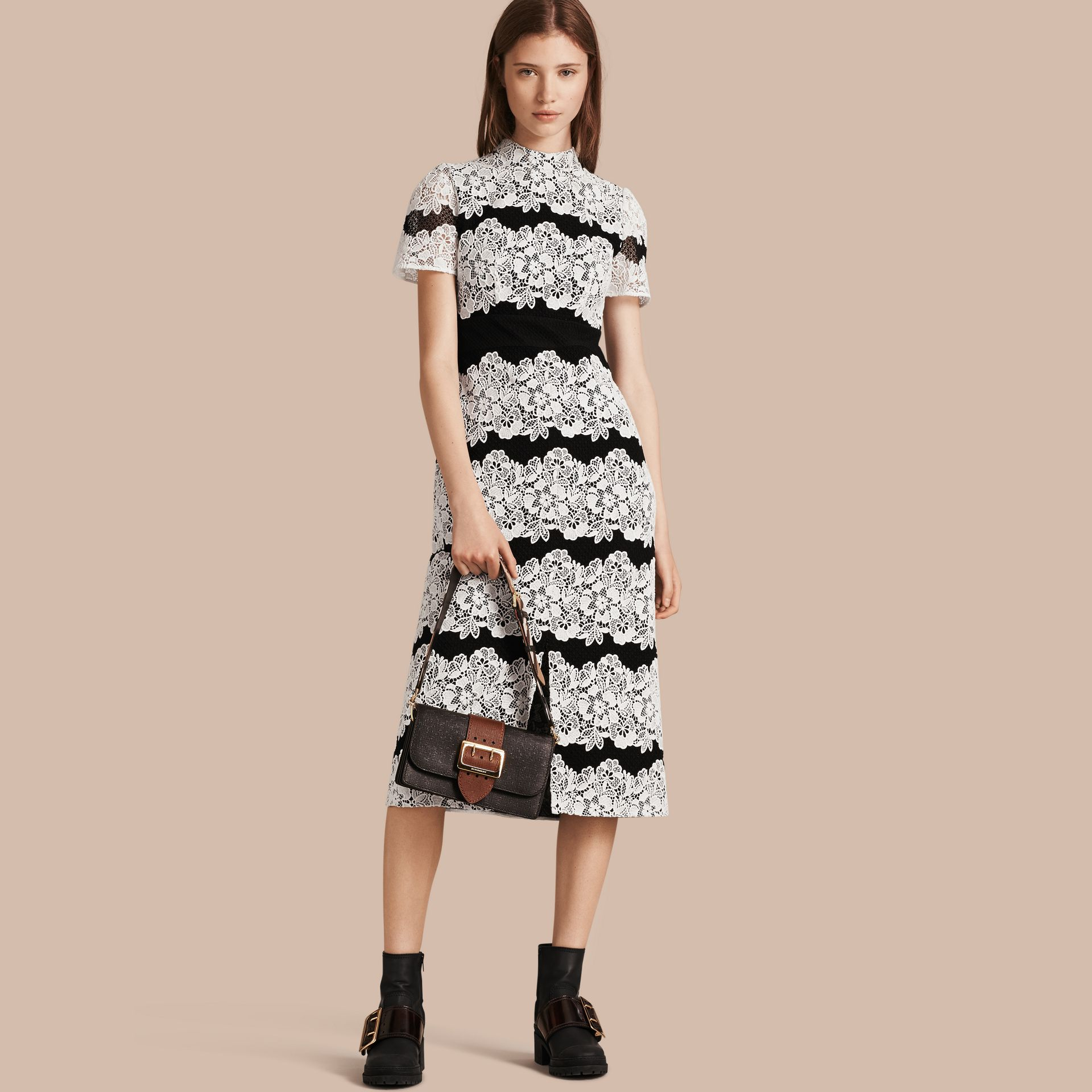 Black/white Mesh and Macramé Lace Shift Dress - gallery image 1