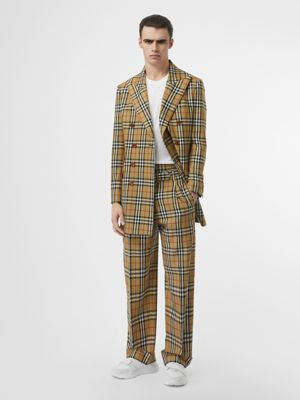 Vintage Check Wool Double-breasted Jacket