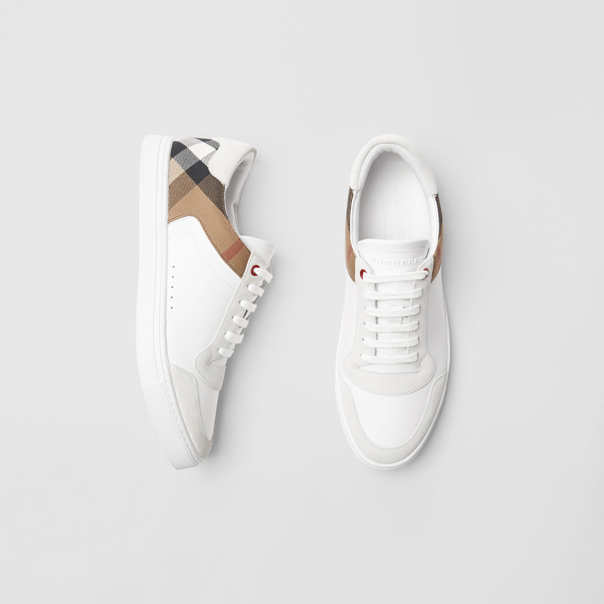 Leather and House Check Sneakers in Optic White - Men | Burberry Australia - gallery image 0