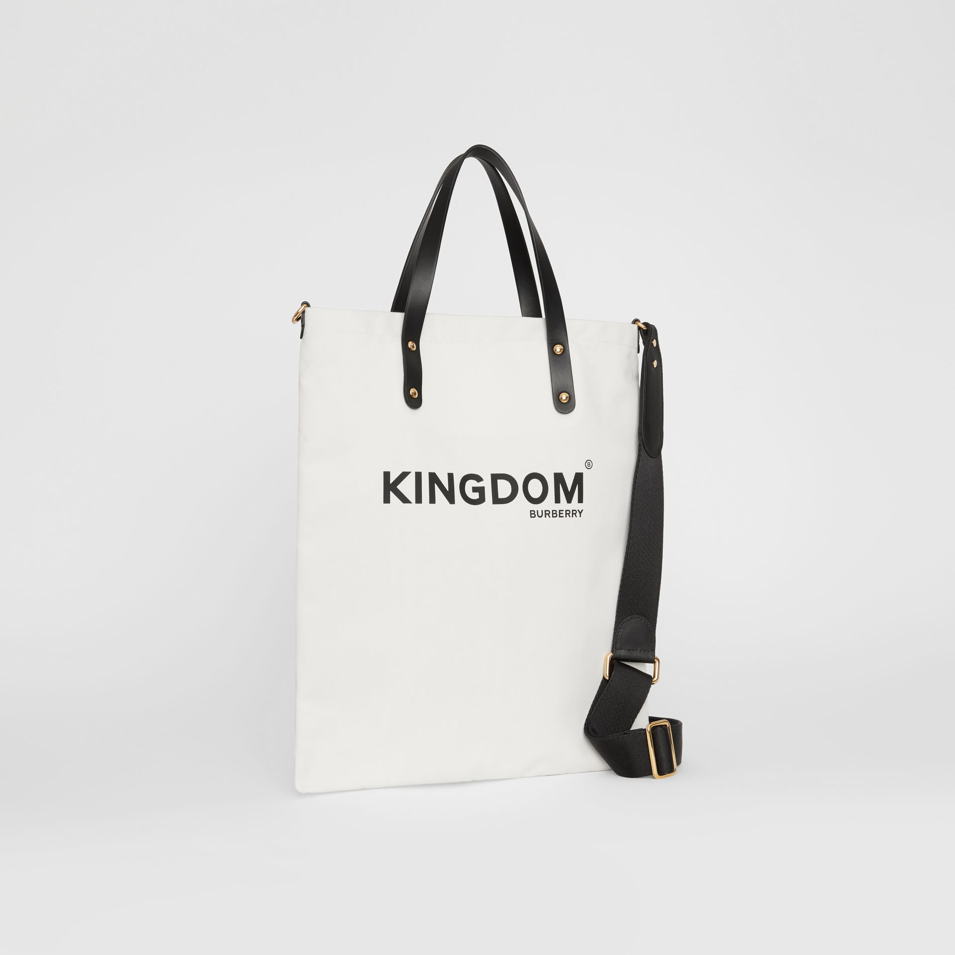 Kingdom Print Cotton Tote in Black | Burberry United Kingdom - gallery image 4