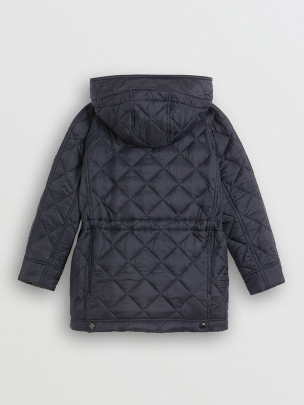 Diamond Quilted Hooded Jacket in Navy | Burberry United Kingdom - cell image 3