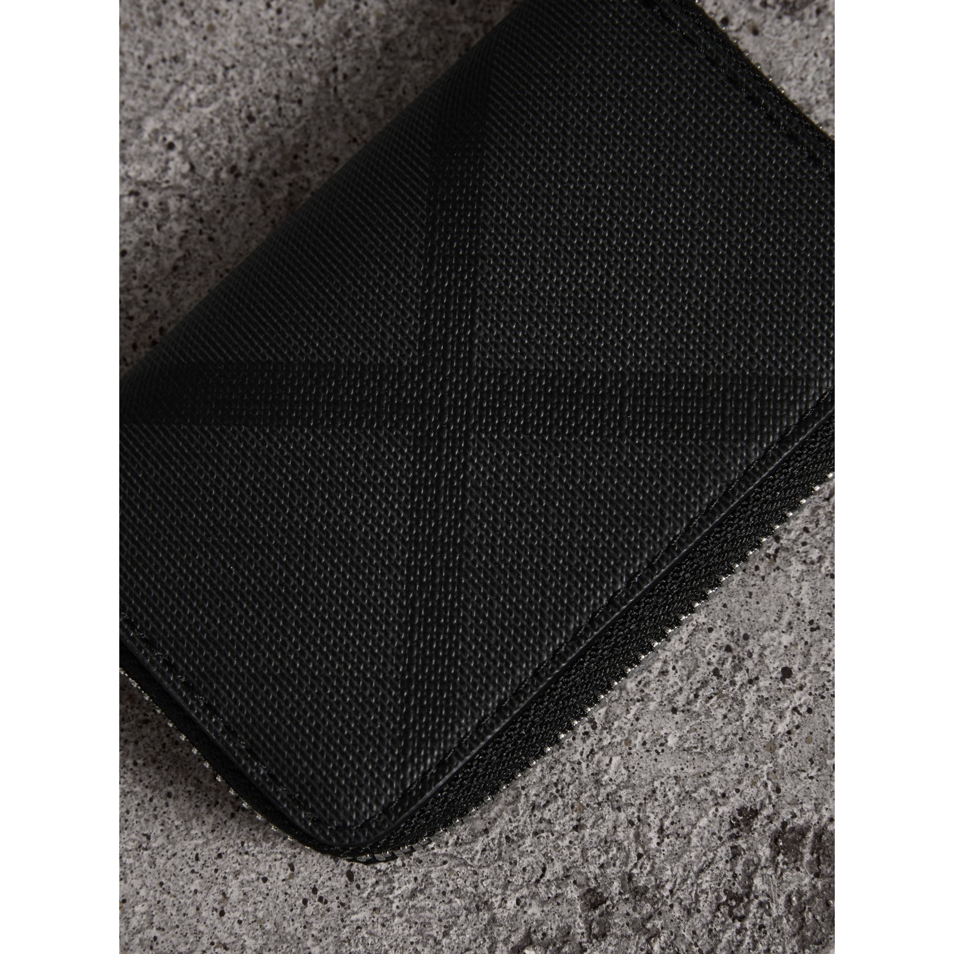 London Check Ziparound Coin Case in Black/charcoal - Men | Burberry - gallery image 1