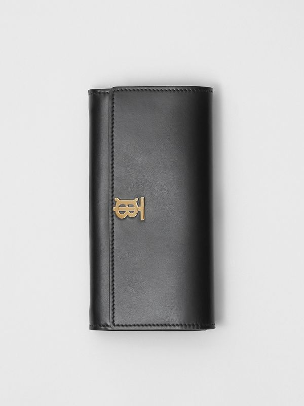 Monogram Motif Leather Continental Wallet in Black - Women | Burberry Australia - cell image 2