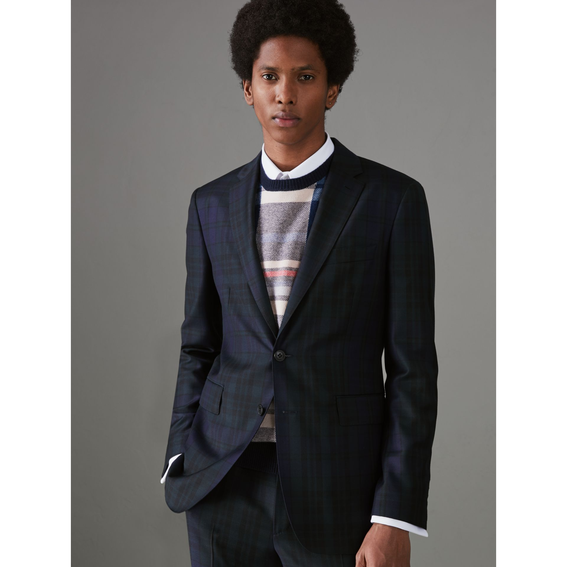 Soho Fit Tartan Wool Twill Suit in Navy - Men | Burberry United States - gallery image 5