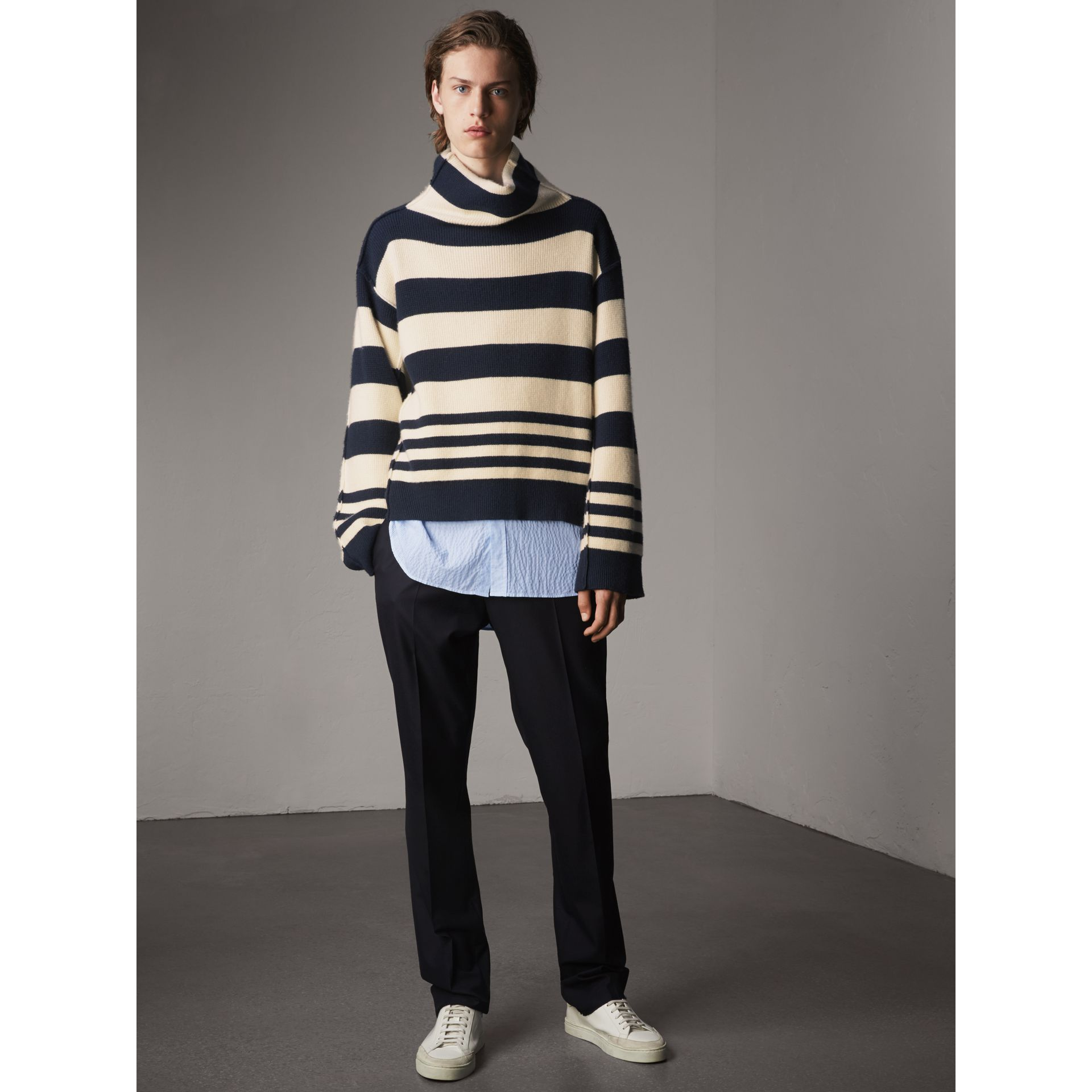Striped Seersucker Stretch Cotton Shirt - Men | Burberry - gallery image 5
