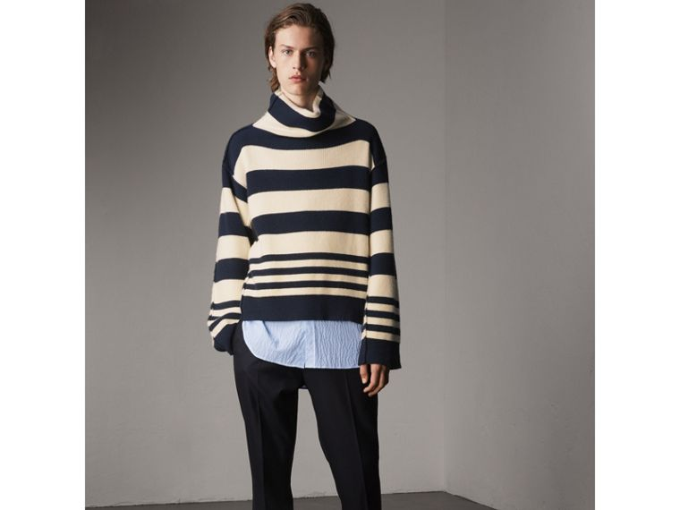 Striped Seersucker Stretch Cotton Shirt - Men | Burberry - cell image 4