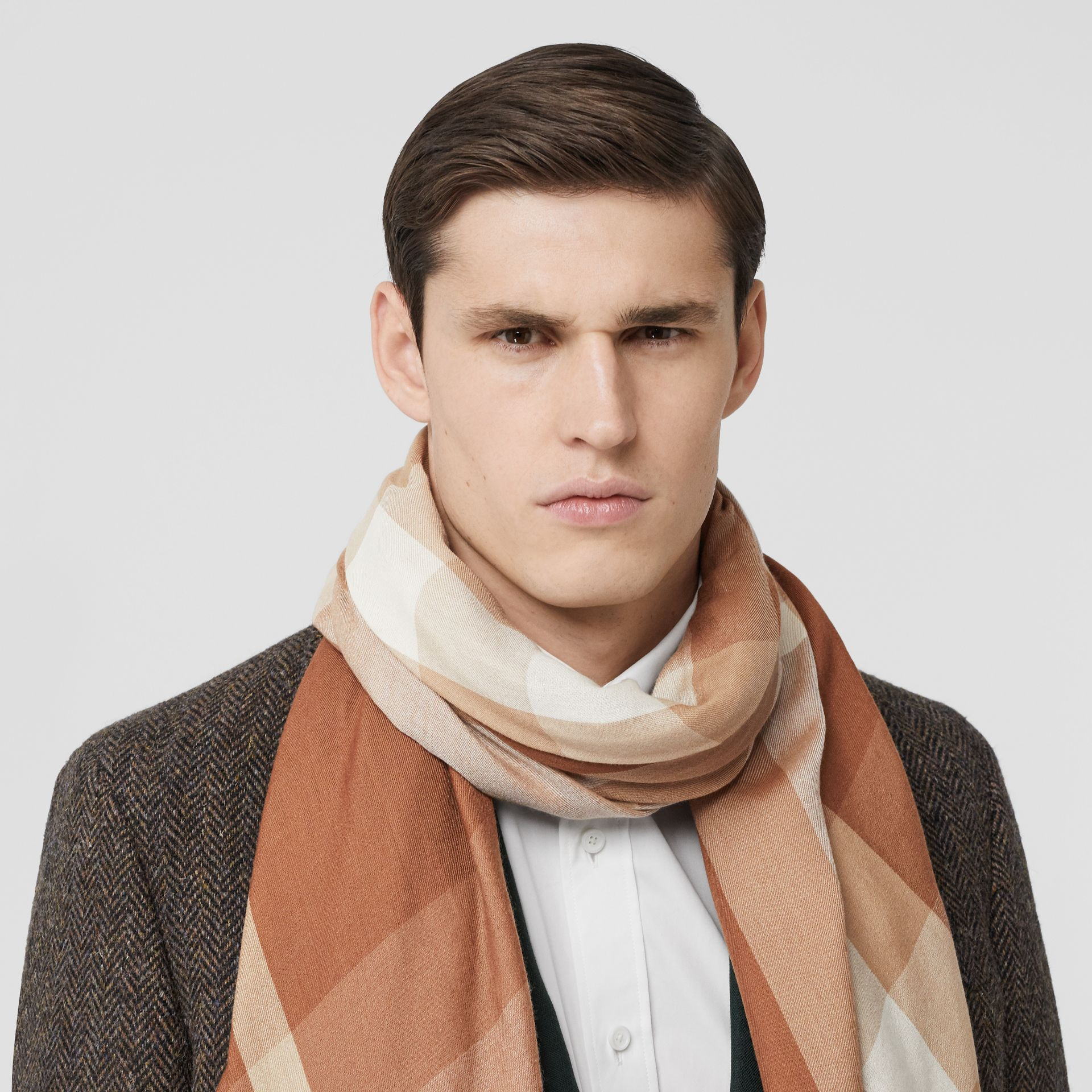 Lightweight Check Cashmere Scarf in Dark Camel | Burberry United Kingdom - gallery image 2