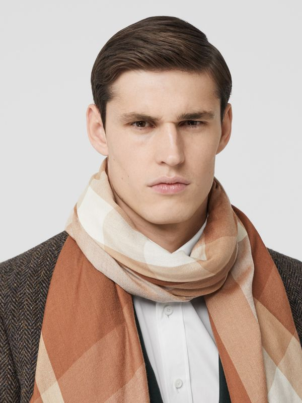 Lightweight Check Cashmere Scarf in Dark Camel | Burberry - cell image 2