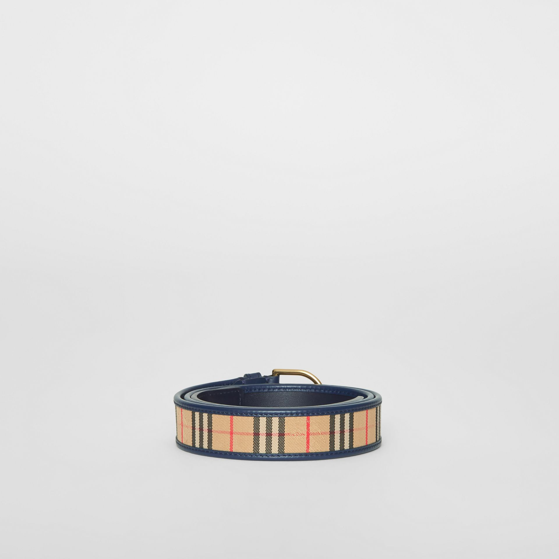 1983 Check and Leather D-ring Belt in Ink Blue - Men | Burberry - gallery image 5