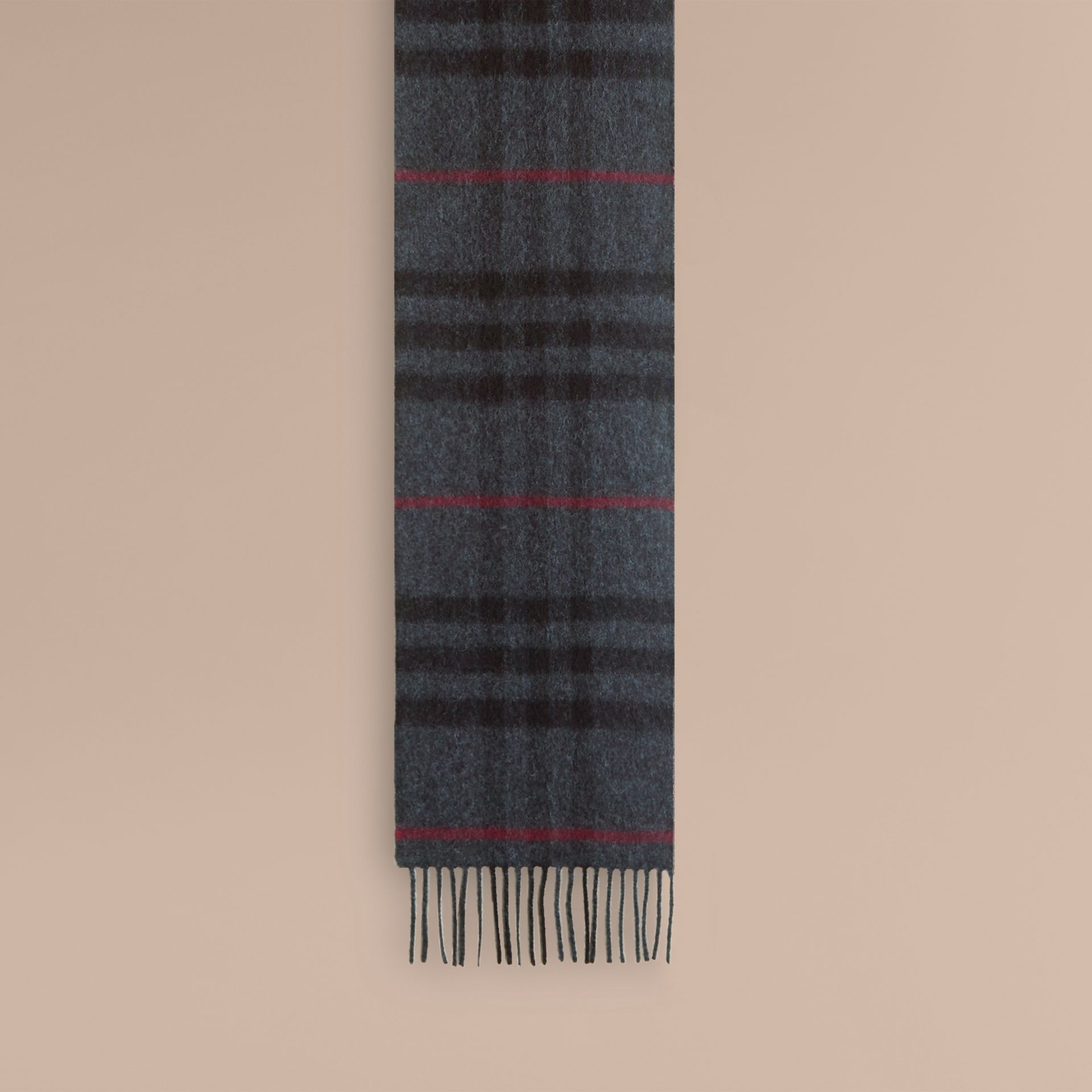 Charcoal check The Mini Classic Cashmere Scarf in Check Charcoal - gallery image 3