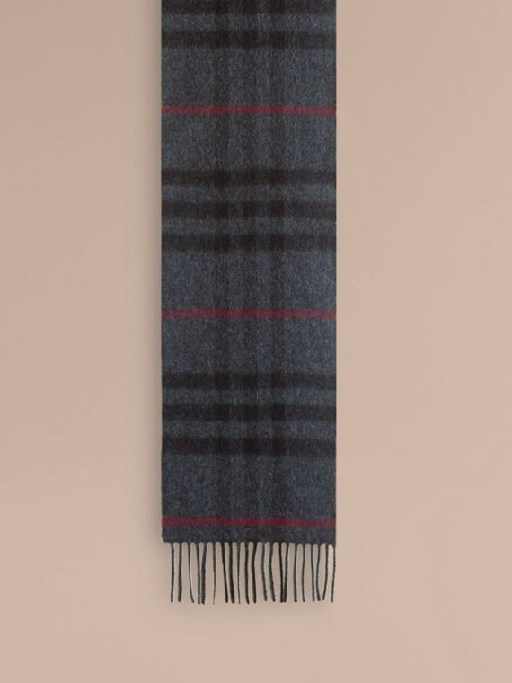 The Mini Classic Cashmere Scarf in Check in Charcoal | Burberry Australia - cell image 2