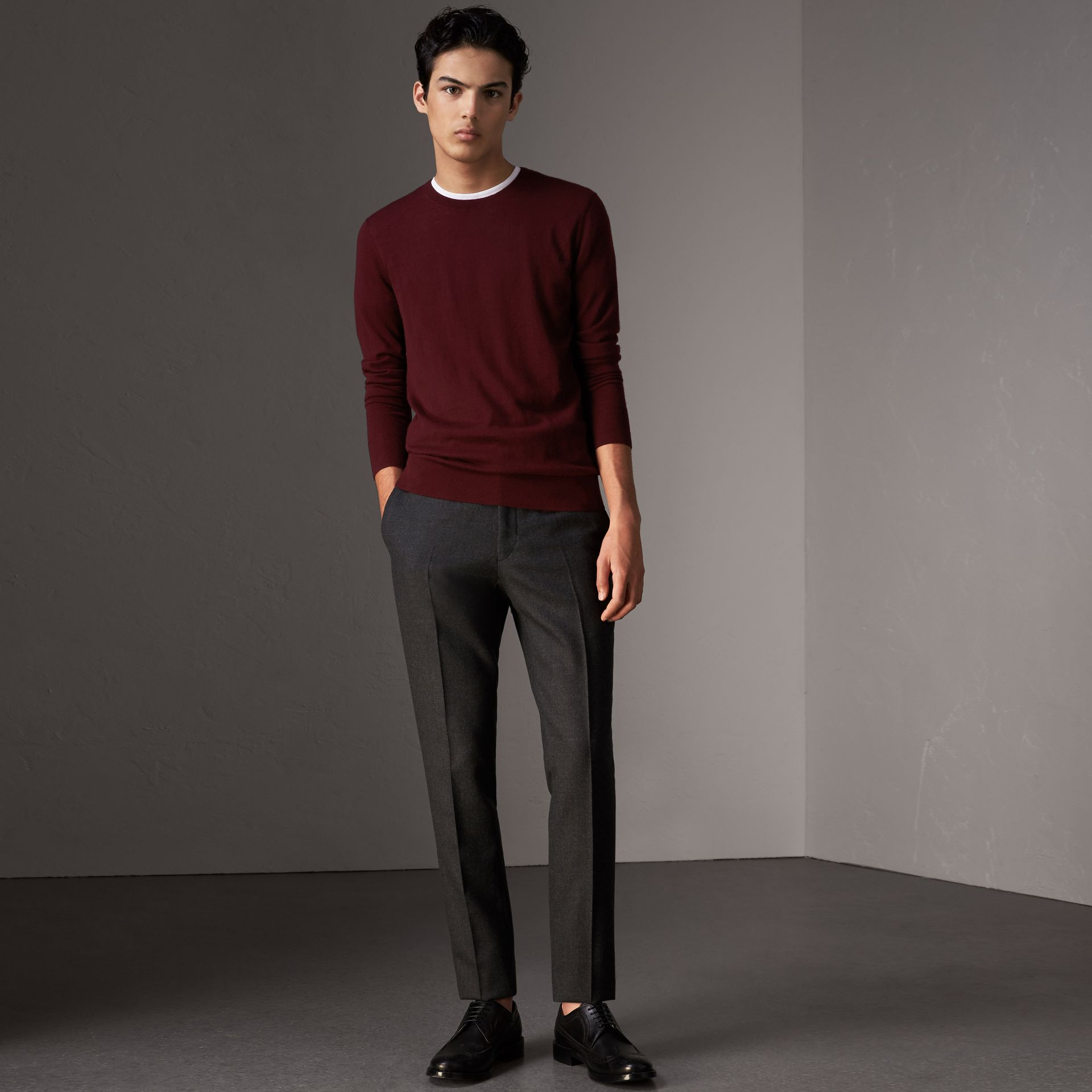 Check Jacquard Detail Cashmere Sweater in Deep Claret - Men | Burberry - gallery image 0