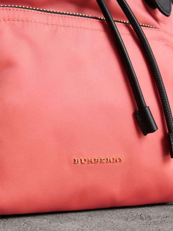 The Medium Rucksack in Technical Nylon and Leather in Bright Coral Pink - Women | Burberry United Kingdom - cell image 1